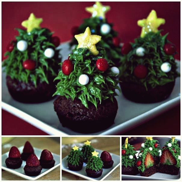 Kreative Idee - DIY Chocolate Covered Strawberry Christmas Trees