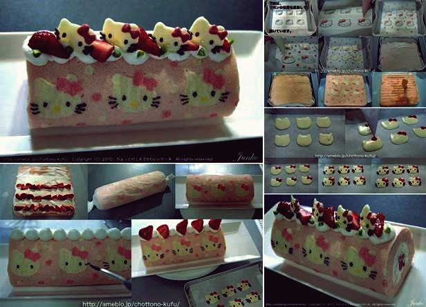 Wie DIY Cute Hello Kitty Swiss Roll